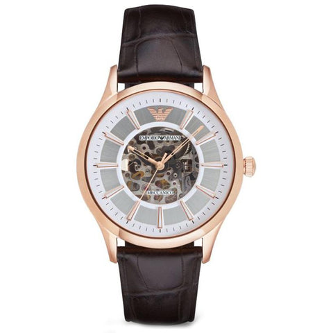 Men's Brown Leather Strap & Rose Gold Emporio Armani Watch AR2073