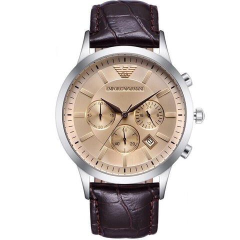 Men's Brown Leather Chronograph Emporio Armani Watch AR2433