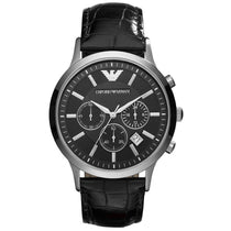 Men's Black Leather Chronograph Emporio Armani Watch AR2447