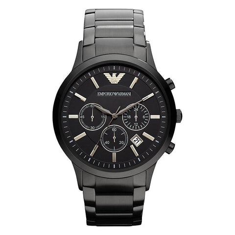 Men's Black Stainless Steel Chronograph Emporio Armani Watch AR2453