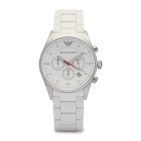 Ladies White Chronograph Emporio Armani Watch AR5867