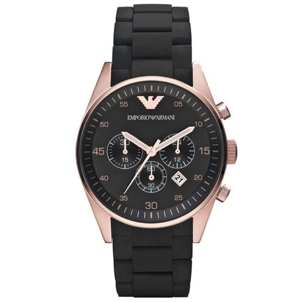 Ladies Black and Rose Gold Silicone Chronograph Emporio Armani Watch AR5905