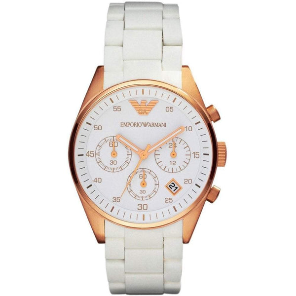 Ladies White and Rose Gold Chronograph Emporio Armani Watch AR5920