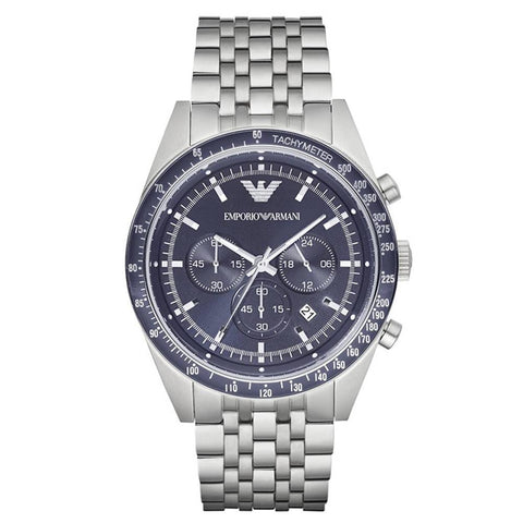 Men's Blue Dial Silver Bracelet Emporio Armani Watch AR6072