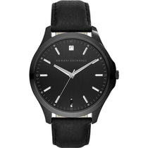 Men's Black Hampton Leather Analogue Armani Exchange Watch AX2171