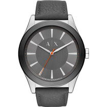 Men's Grey Leather Analogue Armani Exchange Watch AX2335