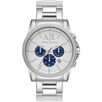 Men's White Stainless Steel Chronograph Armani Exchange Watch AX2500