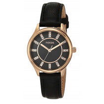 Ladies Black Sophisticate Leather Analogue Fossil Watch BQ3442