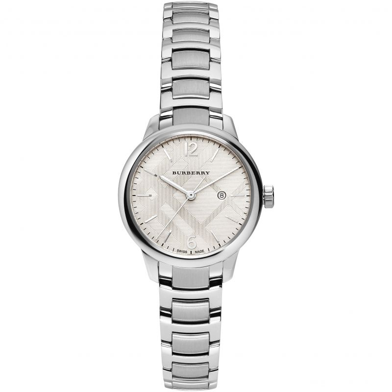 Ladies Silver The Classic Stainless Steel Burberry Watch BU10108