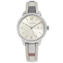 Ladies Silver Burberry Pattern Strap Burberry Watch BU10113