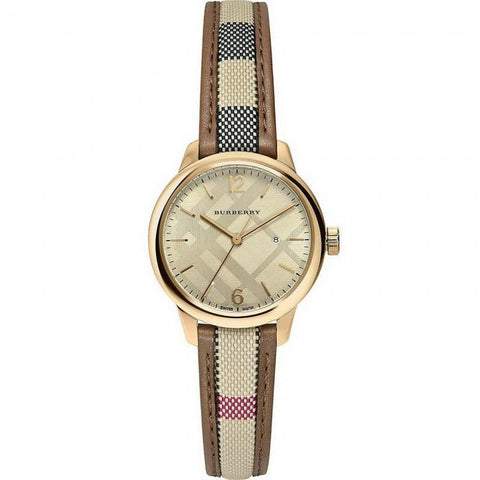 Women's Classic Round Gold Nova Brown Check Burberry Watch BU10114