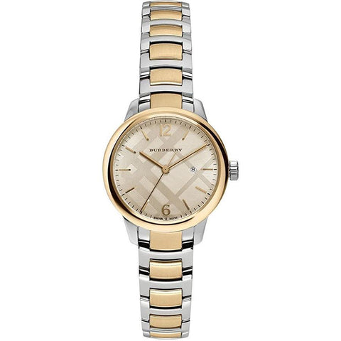 Ladies Classic Silver & Gold Two-Tone Stainless Steel Burberry Watch BU10118
