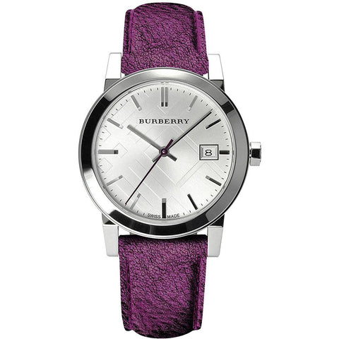 Ladies Purple Leather Strap Silver Dial Burberry Watch BU9122