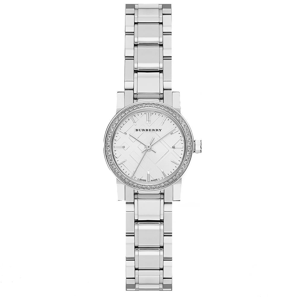 Ladies The City Diamond Stainless Steel Burberry Watch BU9220