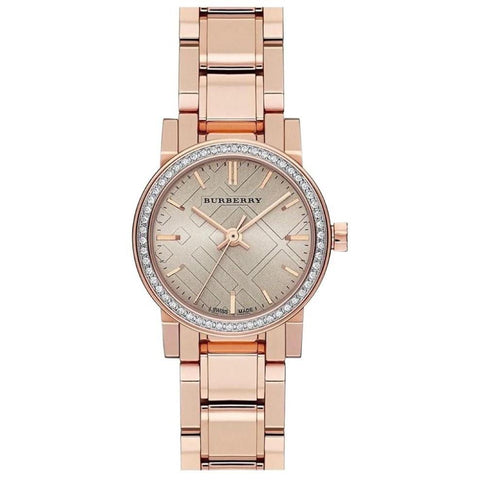 Ladies The City Diamond Rose Gold Stainless Steel Burberry Watch BU9225