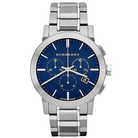 Men's Blue Dial Silver Stainless Steel Chronograph Burberry Watch BU9363