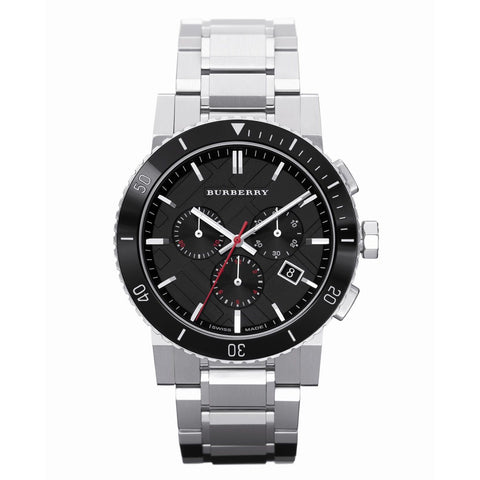 Men's Silver Stainless Steel Chronograph Burberry Watch BU9380