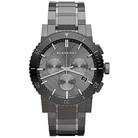 Men's Gunmetal Grey Ion Plated Chronograph Burberry Watch BU9381