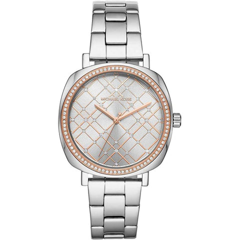 Women's Silver Nia Stainless Steel Analogue Michael Kors Watch MK3988