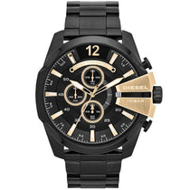 Men's Black & Gold Mega Chief Stainless Steel Chronograph Diesel Watch DZ4338