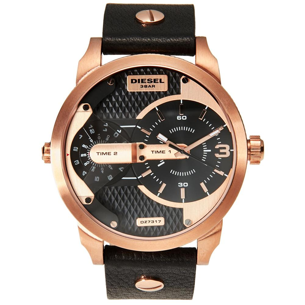 Men's Black & Rose Gold Mini Daddy Chronograph Diesel Watch DZ7317