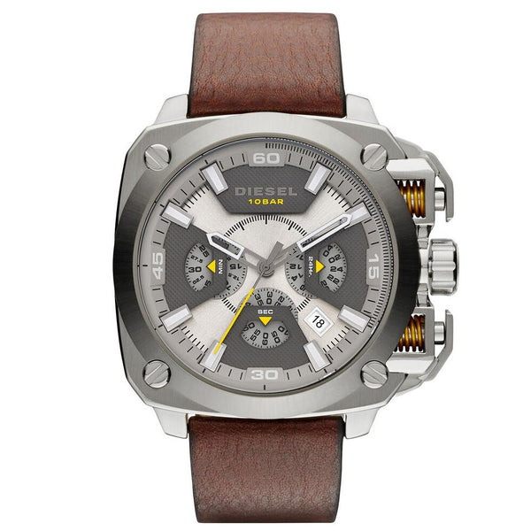 Men's Bamf Beige & Gray Leather Strap Chronograph Diesel Watch DZ7343