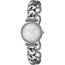 Ladies White Carlie Stainless Steel Analogue Fossil Watch ES4689