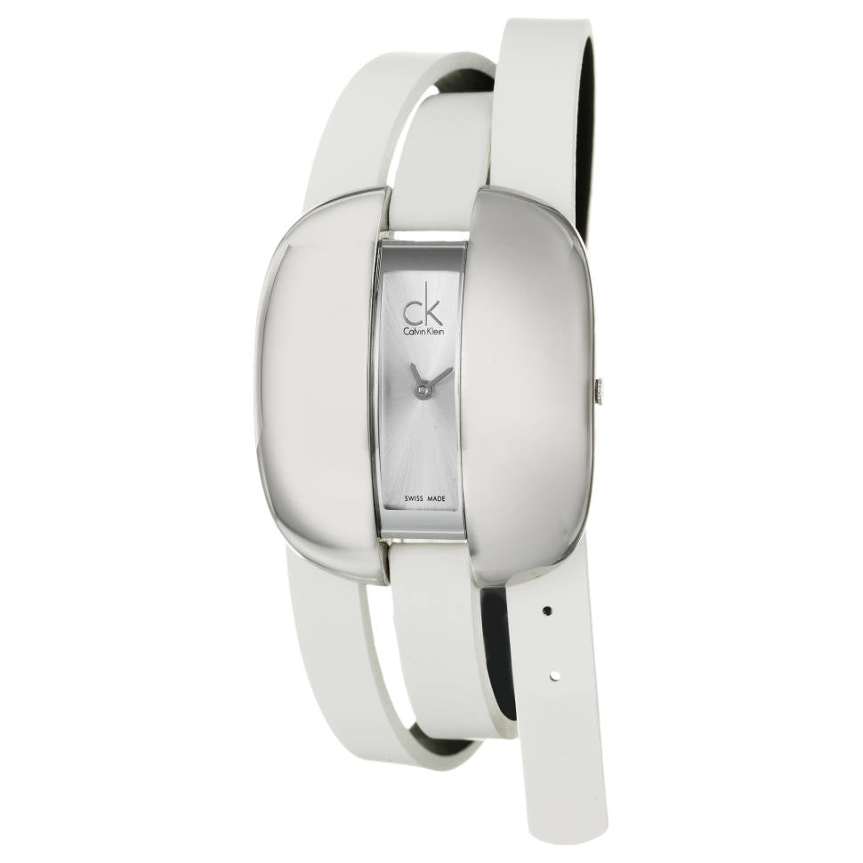 Ladies White Treasure Leather Analogue Calvin Klein Watch K2E23120