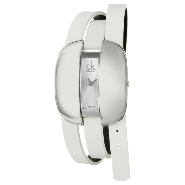 Women's White Treasure Leather Analogue Calvin Klein Watch K2E23120