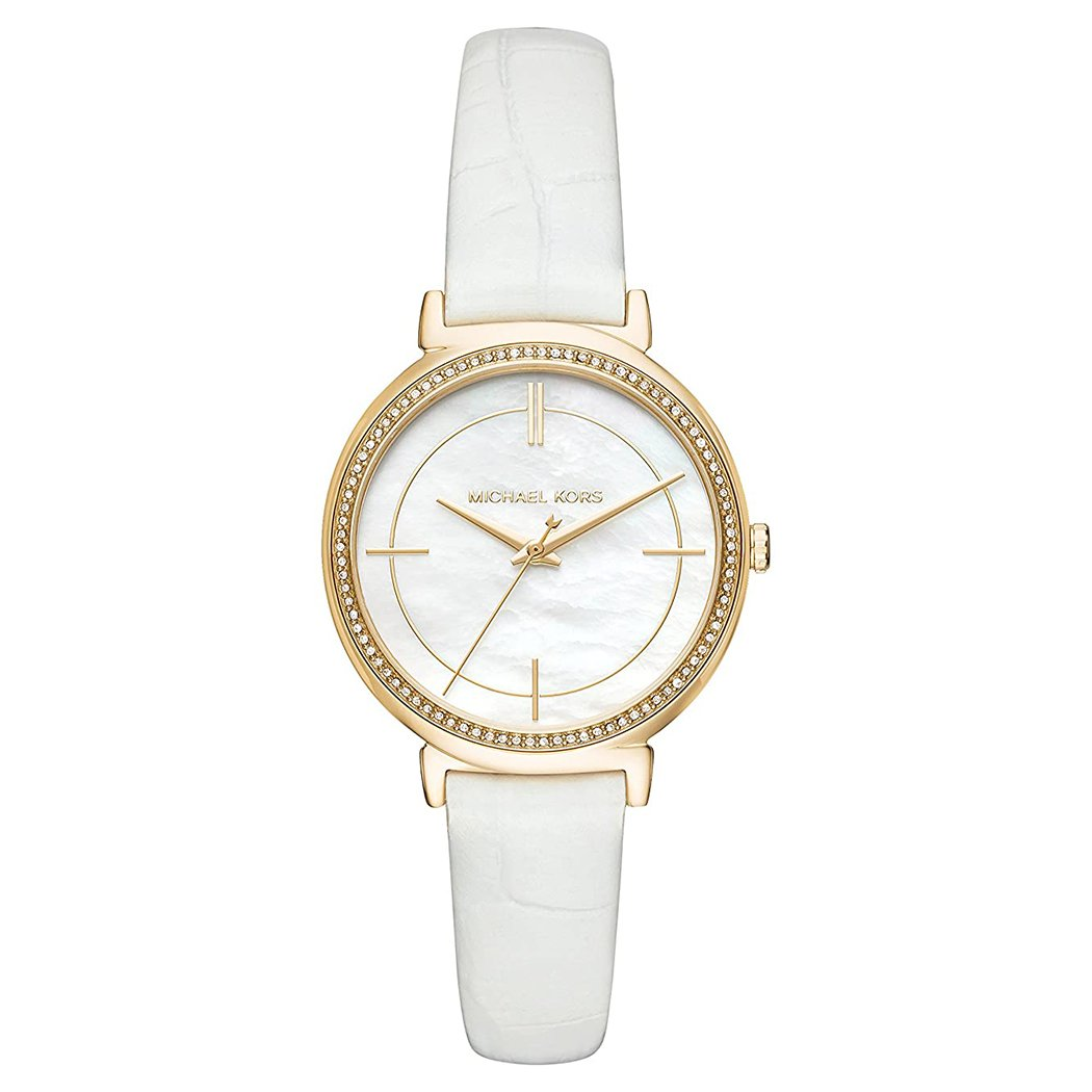 Ladies Cinthia Gold Leather Mother of Pearl Michael Kors Watch MK2662