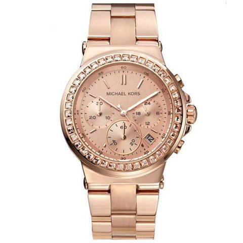 Ladies Mini Dylan Glitz Rose Gold Chronograph Michael Kors Watch MK5586