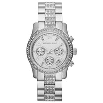 Ladies Runway Silver Glitz Stainless Steel Chronograph Michael Kors Watch MK5825