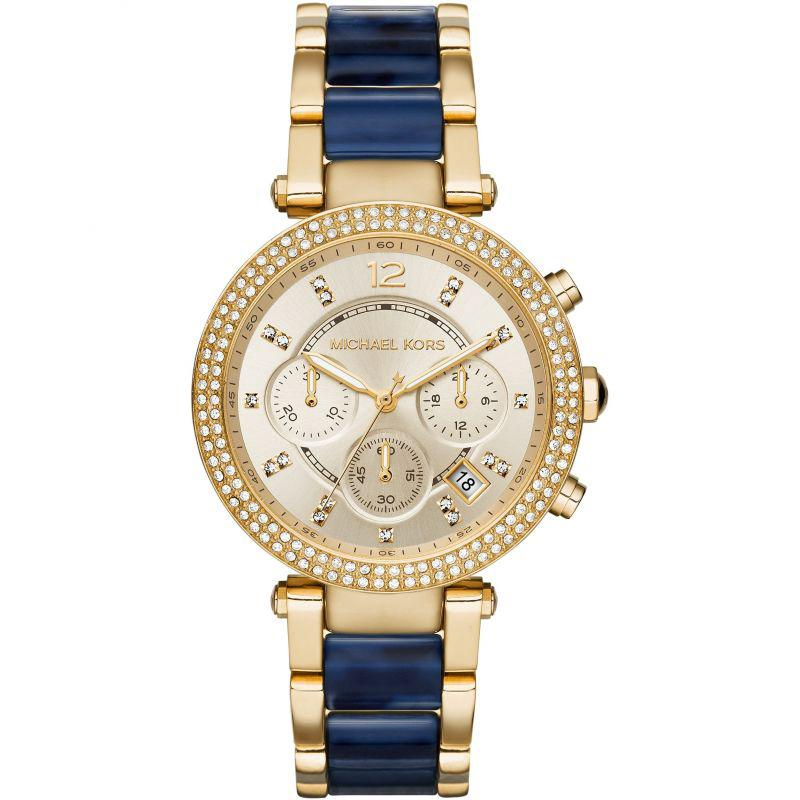 Ladies Parker Two-Tone Blue Stainless Steel Chronograph Michael Kors Watch MK6238