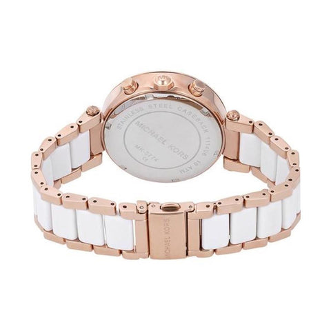 Ladies RITZ Two-Tone Rose Gold Stainless Steel Chronograph Michael Kors Watch MK6324