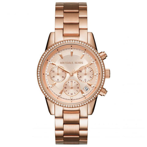Ladies RITZ Rose Gold Stainless Steel Chronograph Michael Kors Watch MK6357