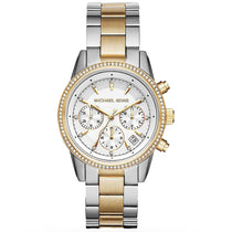 Ladies Ritz Silver & Gold Chronograph Stainless Steel Michael Kors Watch MK6474