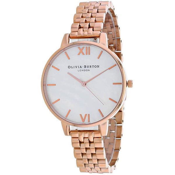 Ladies Rose Gold Big Dial Stainless Steel Analogue Oliva Burton Watch OB16MOP03