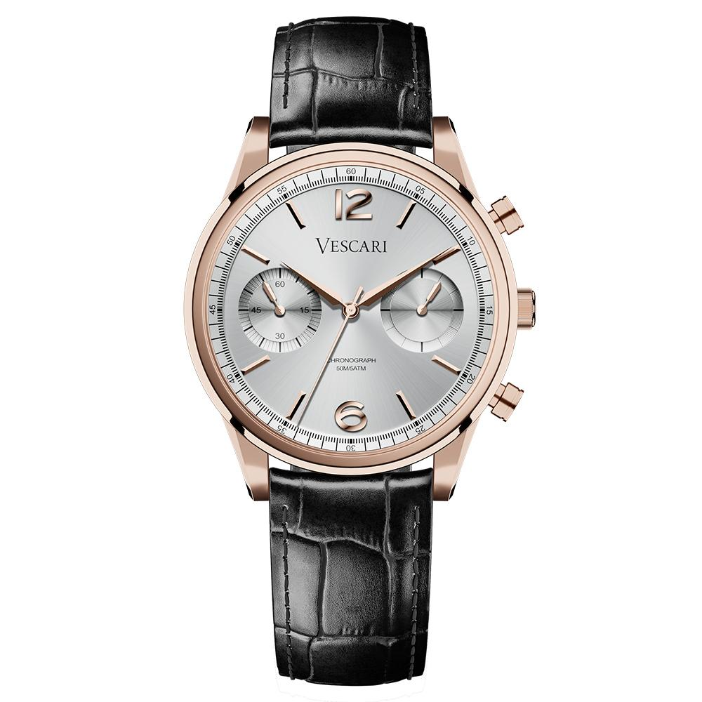 Men's Chestor Rosegold Silver Leather Chronograph Vescari Watch VSC-02RG-1