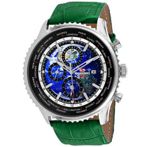 Men's Green Meridian World Timer GMT Leather Chronograph Seapro Watch SP7133