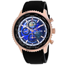Men's Black Meridian World Timer GMT Rubber Chronograph Seapro Watch SP7523