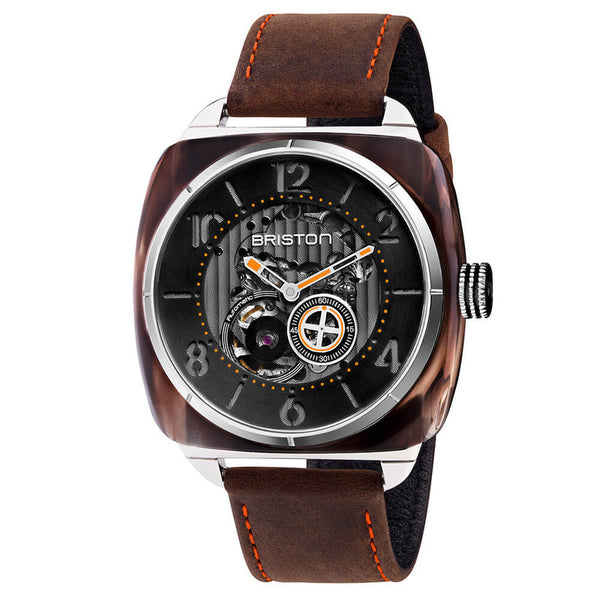Men's Brown Streamlliner Skeleton Leather Automatic Briston Watch 201042.SA.BR.1.C