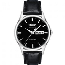 Men's Black Visodate Leather Analogue Tissot Watch T0194301605101