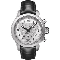 Ladies Designer Black Leather PRC Chronograph Tissot Watch T055.217.16.032.02