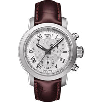Ladies Designer Brown Leather PRC Chronograph Tissot Watch T055.217.16.033.01
