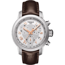 Ladies Designer Brown Leather PRC Chronograph Tissot Watch T055.217.16.033.02