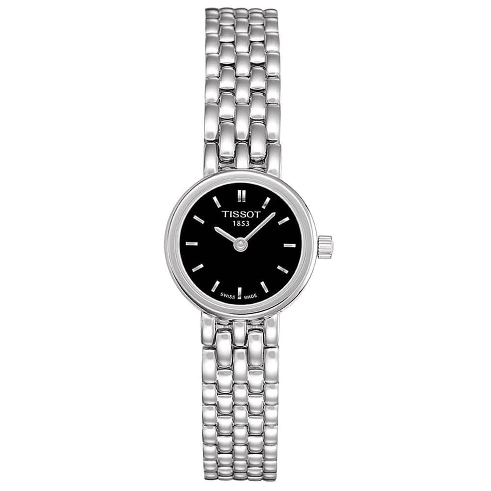 Ladies Designer Black Dial Silver T-Lady Lovely Tissot Bracelet Watch T058.009.11.051.00