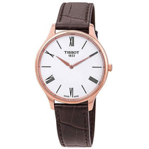 Men's Brown Tradition Thin Leather Analogue Tissot Watch T0634093601800