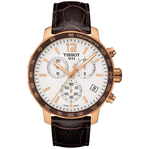 Men's Brown Leather Quickster Chronograph Tissot Watch T095.417.36.037.00