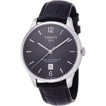Men's Black T-Classic Chemin Des Tourelles Powermatic 80 Leather Analogue Tissot Watch T0994071644700