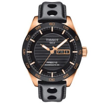 Men's Black PRS 516 Leather Analogue Tissot Watch T1004303605100